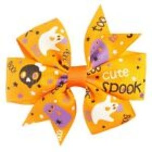 """2pcs 3"""" Girls Halloween Pumpkin Hair Bow"""